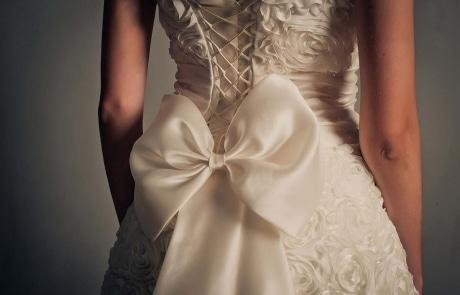Details of a wedding dress close up.